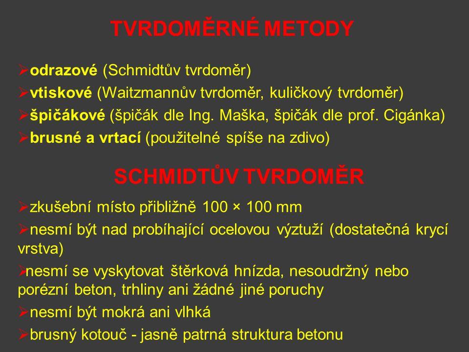 TVRDOMĚRNÉ METODY SCHMIDTŮV TVRDOMĚR odrazové (Schmidtův tvrdoměr)
