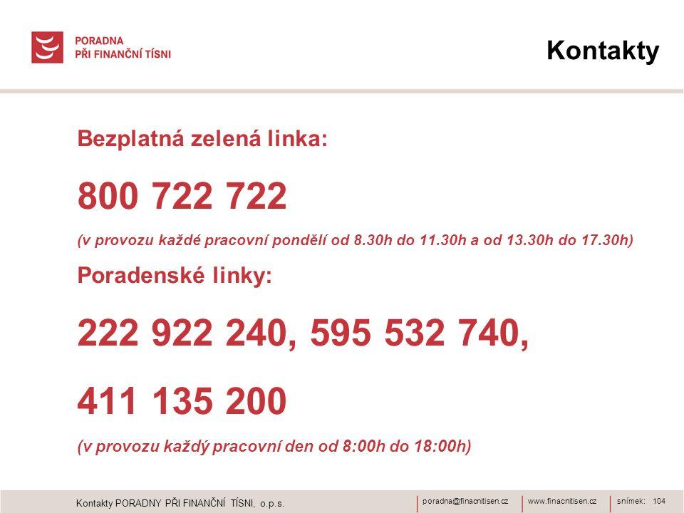 Kontakty Bezplatná zelená linka: 800 722 722. (v provozu každé pracovní pondělí od 8.30h do 11.30h a od 13.30h do 17.30h)