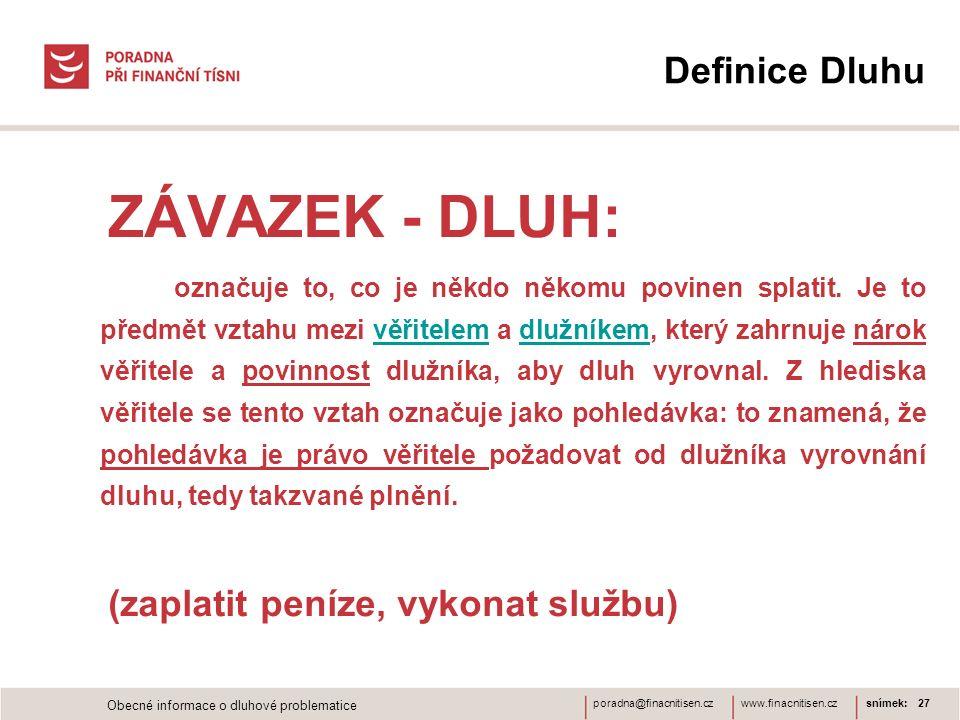 ZÁVAZEK - DLUH: Definice Dluhu (zaplatit peníze, vykonat službu)