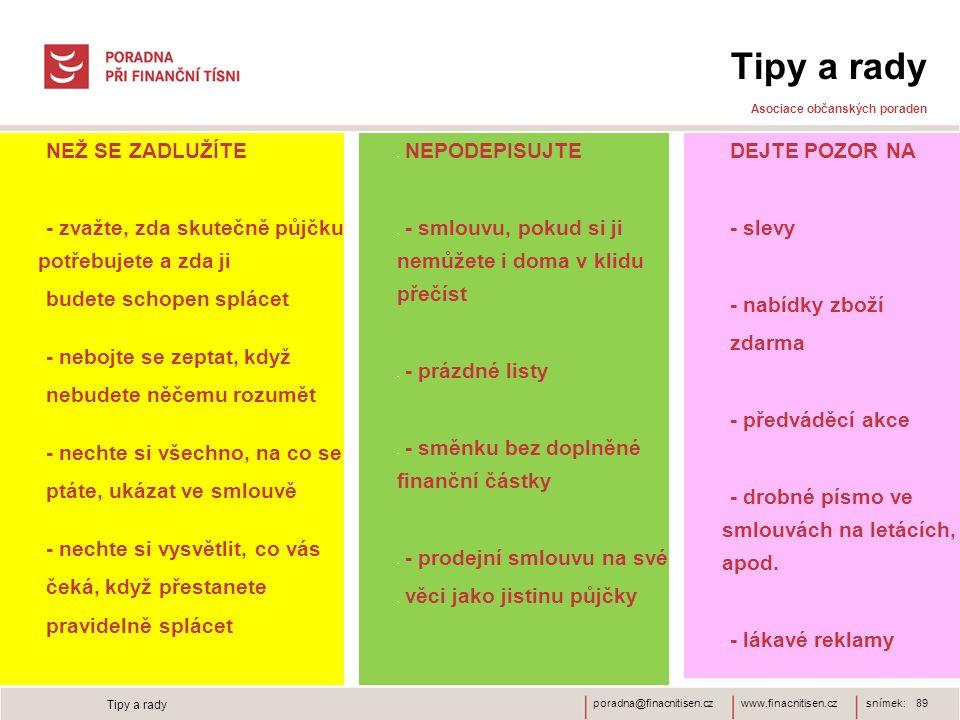 Tipy a rady Asociace občanských poraden