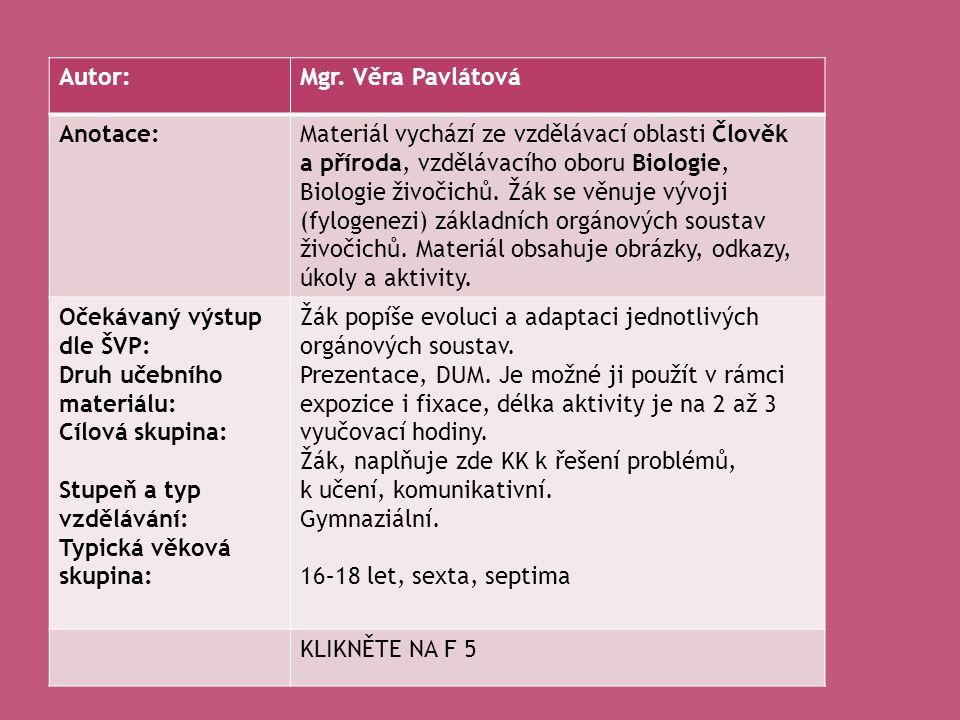 Autor: Mgr. Věra Pavlátová. Anotace: