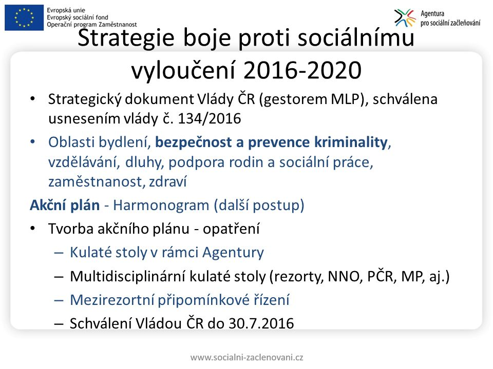 Strategie boje proti sociálnímu vyloučení 2016-2020