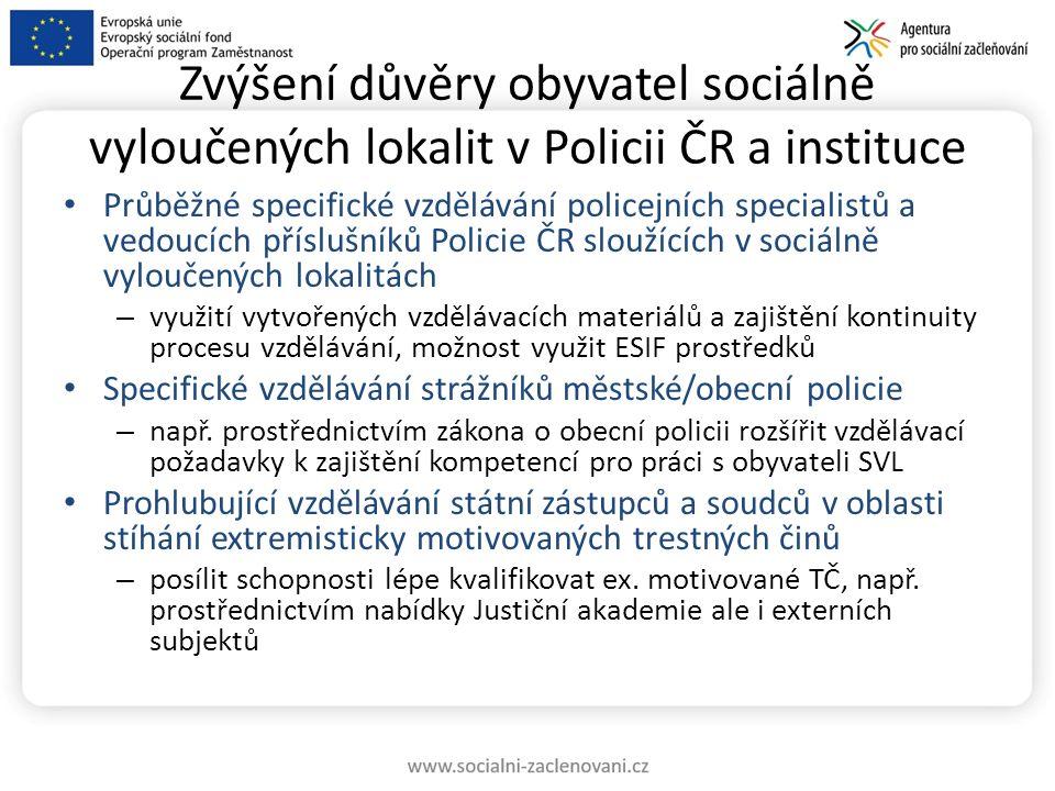 Zvýšení důvěry obyvatel sociálně vyloučených lokalit v Policii ČR a instituce