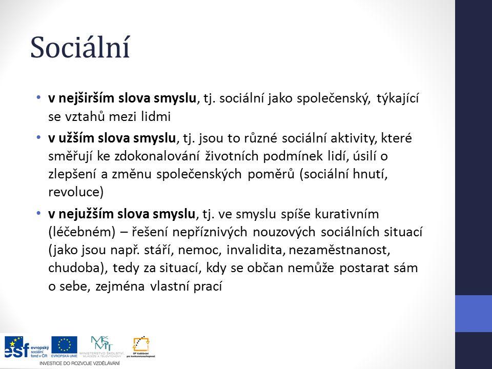 Sociální v nejširším slova smyslu, tj. sociální jako společenský, týkající se vztahů mezi lidmi.
