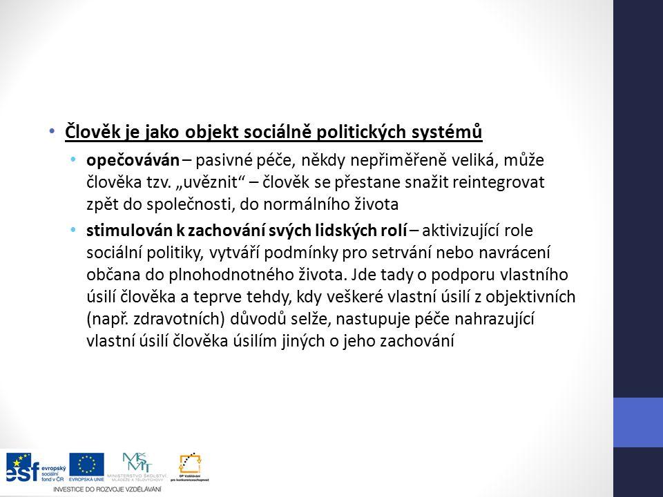 Člověk je jako objekt sociálně politických systémů