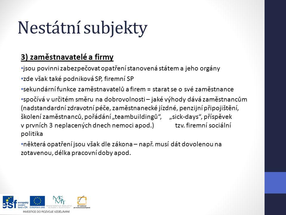 Nestátní subjekty 3) zaměstnavatelé a firmy