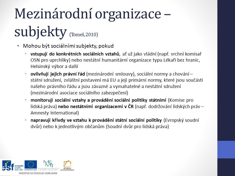 Mezinárodní organizace – subjekty (Tomeš, 2010)