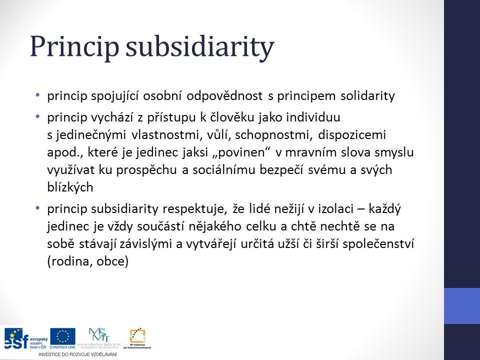Princip subsidiarity princip spojující osobní odpovědnost s principem solidarity.