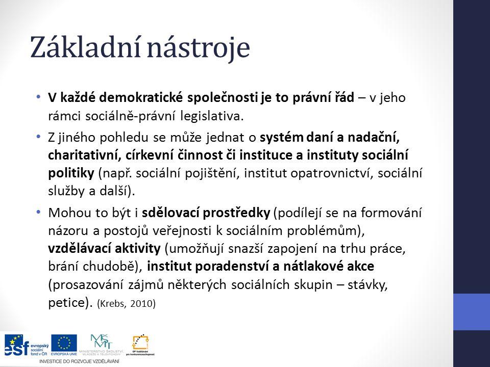 Základní nástroje V každé demokratické společnosti je to právní řád – v jeho rámci sociálně-právní legislativa.