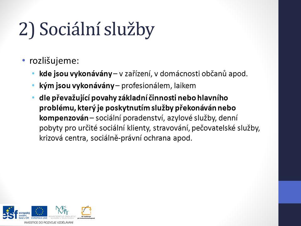 2) Sociální služby rozlišujeme: