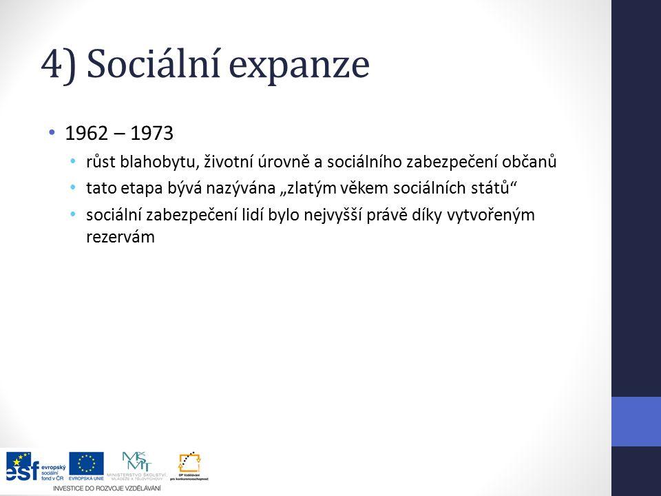 4) Sociální expanze 1962 – 1973. růst blahobytu, životní úrovně a sociálního zabezpečení občanů.