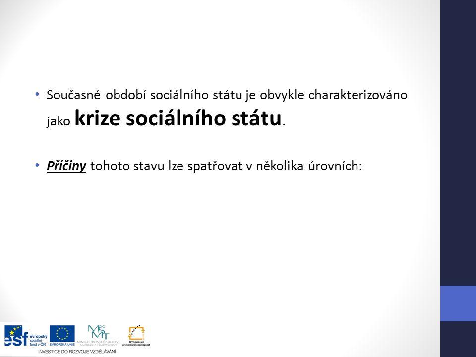 Současné období sociálního státu je obvykle charakterizováno jako krize sociálního státu.