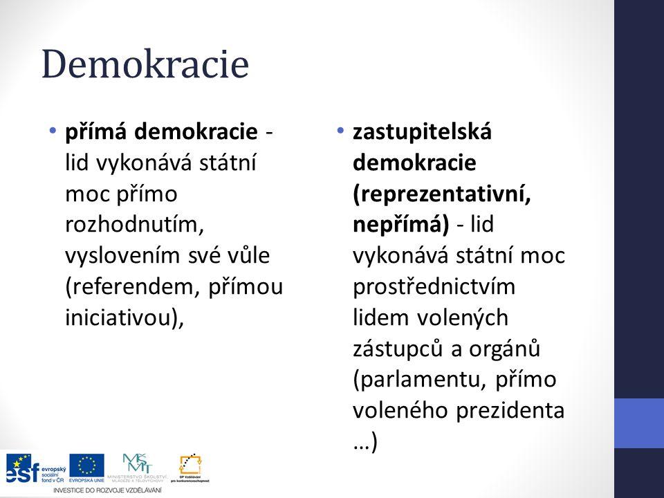 Demokracie přímá demokracie - lid vykonává státní moc přímo rozhodnutím, vyslovením své vůle (referendem, přímou iniciativou),
