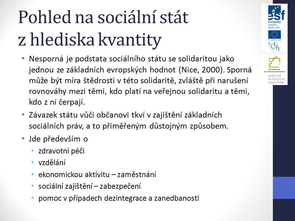Pohled na sociální stát z hlediska kvantity