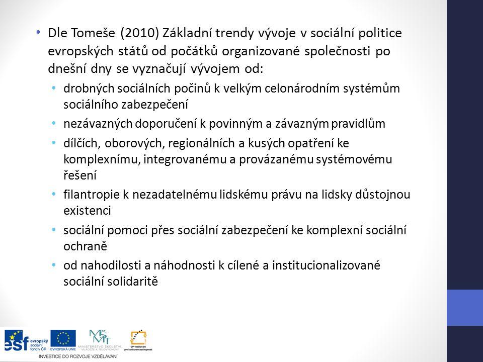 Dle Tomeše (2010) Základní trendy vývoje v sociální politice evropských států od počátků organizované společnosti po dnešní dny se vyznačují vývojem od: