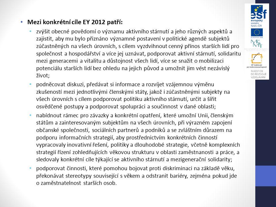 Mezi konkrétní cíle EY 2012 patří: