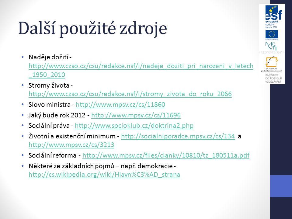 Další použité zdroje Naděje dožití - http://www.czso.cz/csu/redakce.nsf/i/nadeje_doziti_pri_narozeni_v_letech_1950_2010.