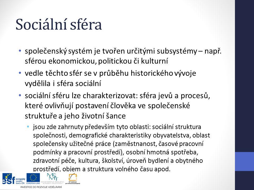 Sociální sféra společenský systém je tvořen určitými subsystémy – např. sférou ekonomickou, politickou či kulturní.