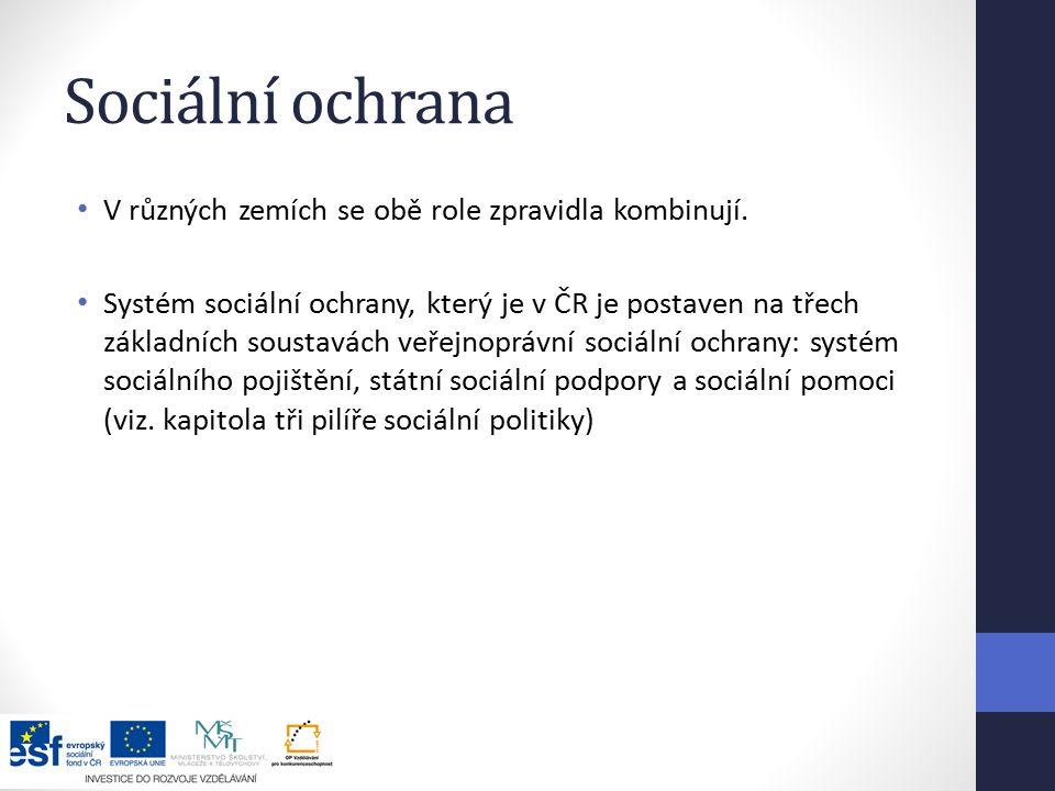 Sociální ochrana V různých zemích se obě role zpravidla kombinují.