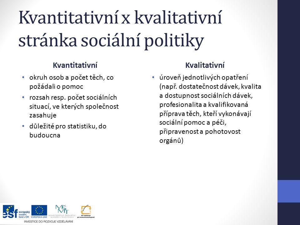 Kvantitativní x kvalitativní stránka sociální politiky