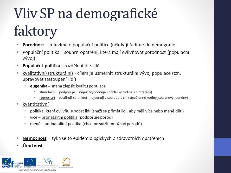 Vliv SP na demografické faktory