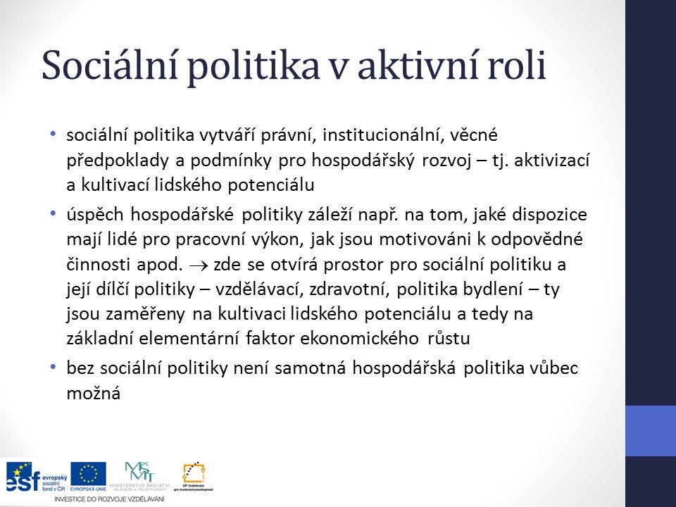 Sociální politika v aktivní roli