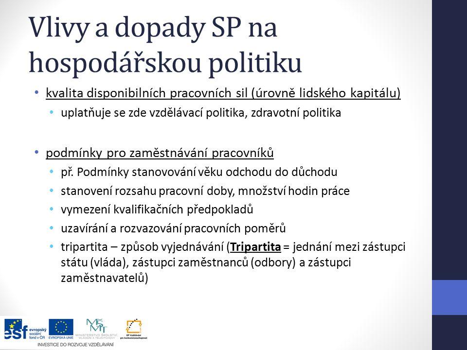 Vlivy a dopady SP na hospodářskou politiku