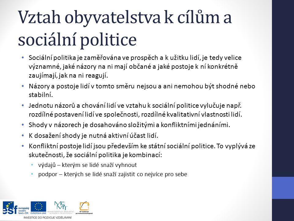 Vztah obyvatelstva k cílům a sociální politice