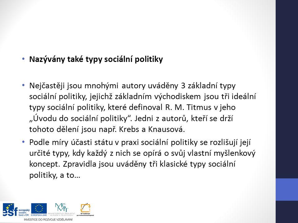 Nazývány také typy sociální politiky