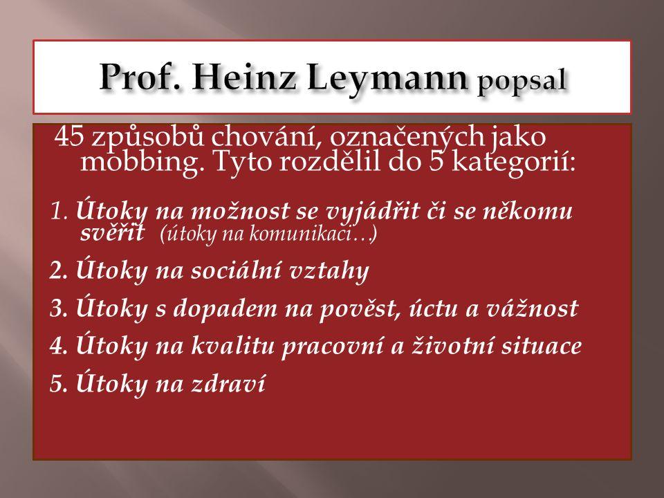 Prof. Heinz Leymann popsal