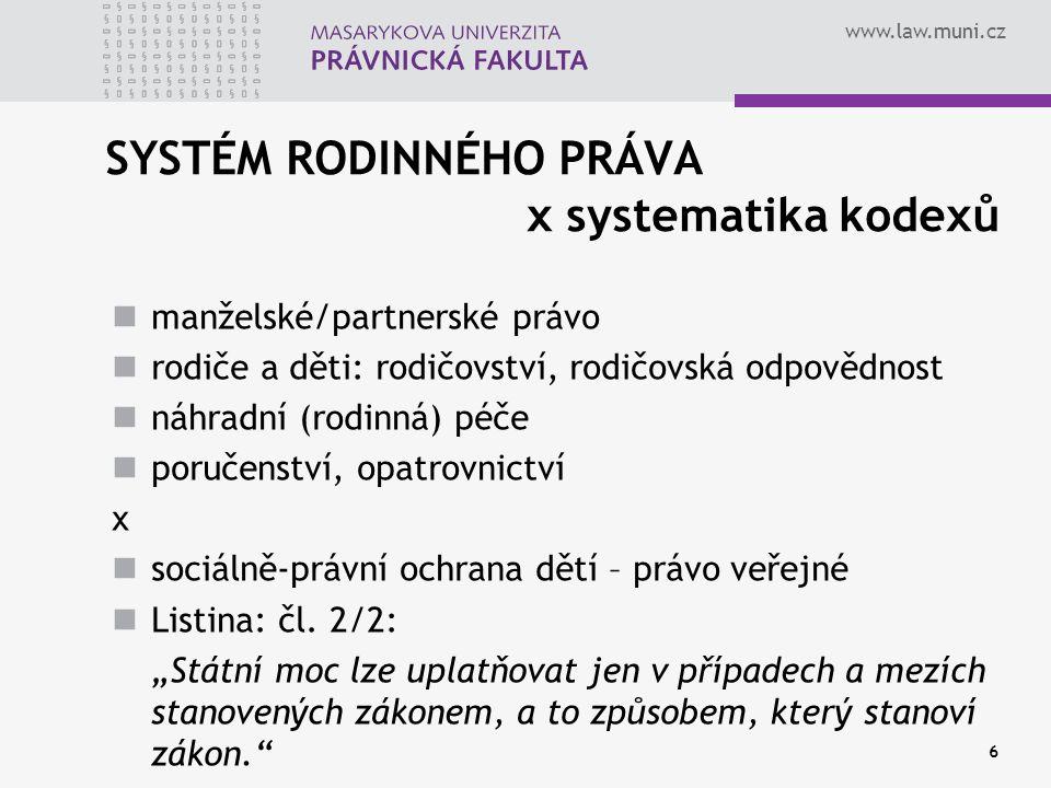 SYSTÉM RODINNÉHO PRÁVA x systematika kodexů