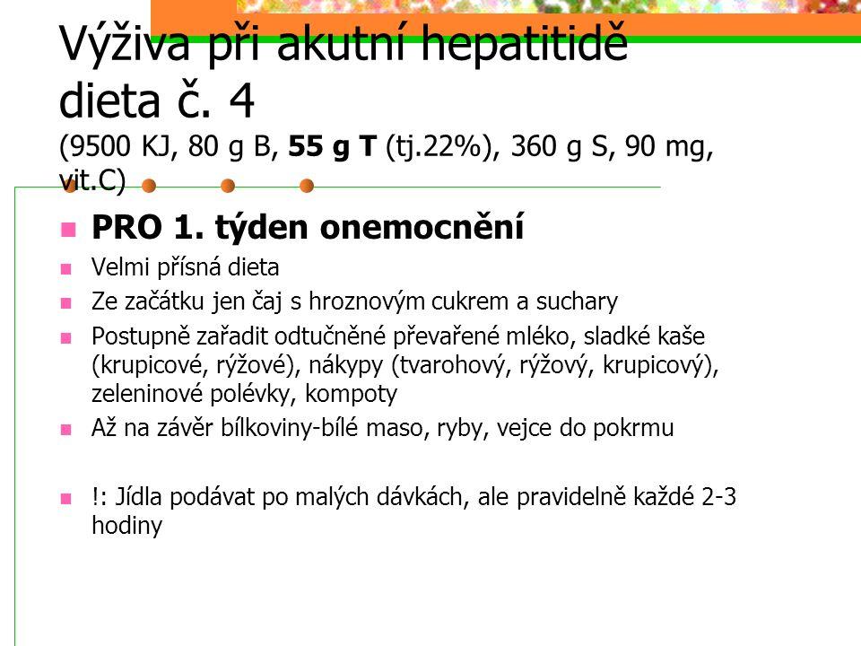 Výživa při akutní hepatitidě dieta č. 4 (9500 KJ, 80 g B, 55 g T (tj