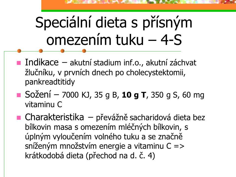 Speciální dieta s přísným omezením tuku – 4-S