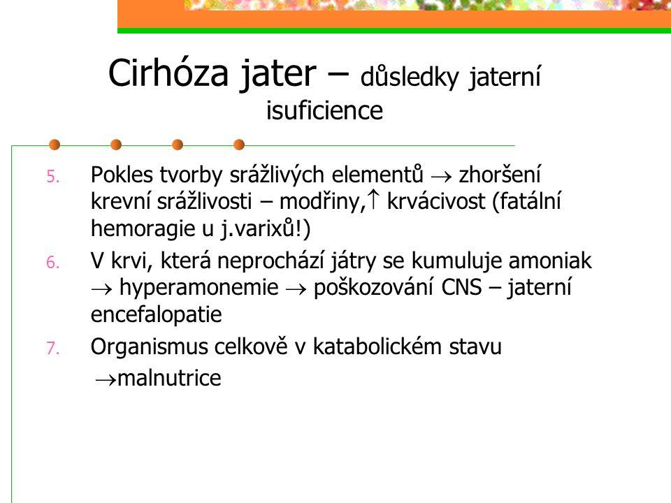 Cirhóza jater – důsledky jaterní isuficience