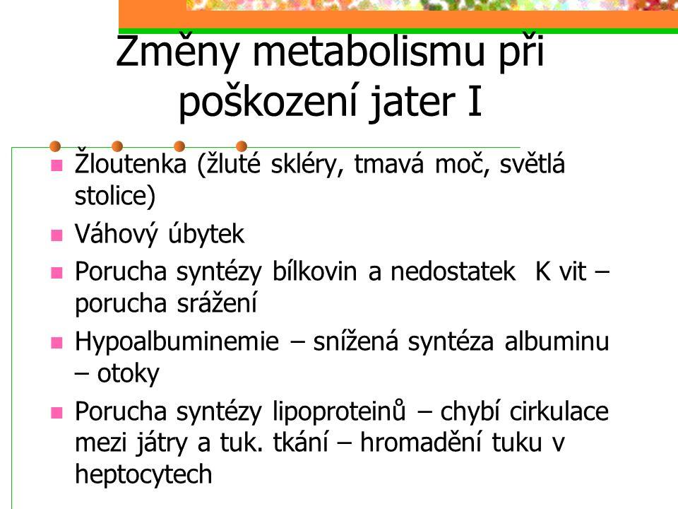 Změny metabolismu při poškození jater I
