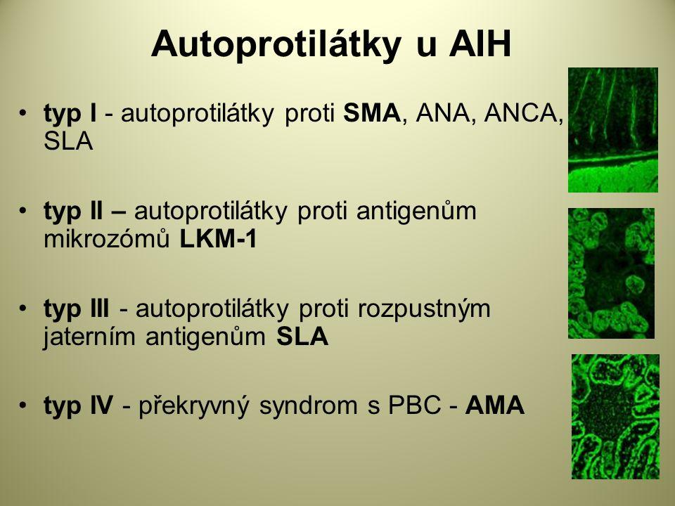 Autoprotilátky u AIH typ I - autoprotilátky proti SMA, ANA, ANCA, SLA