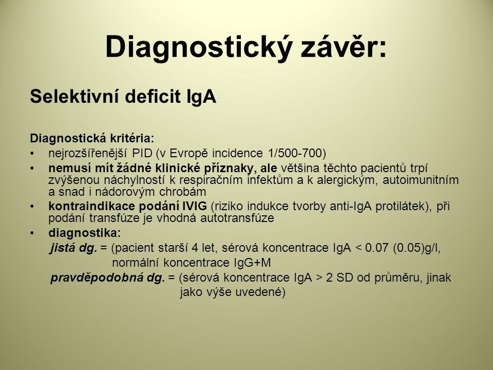 Diagnostický závěr: Selektivní deficit IgA Diagnostická kritéria: