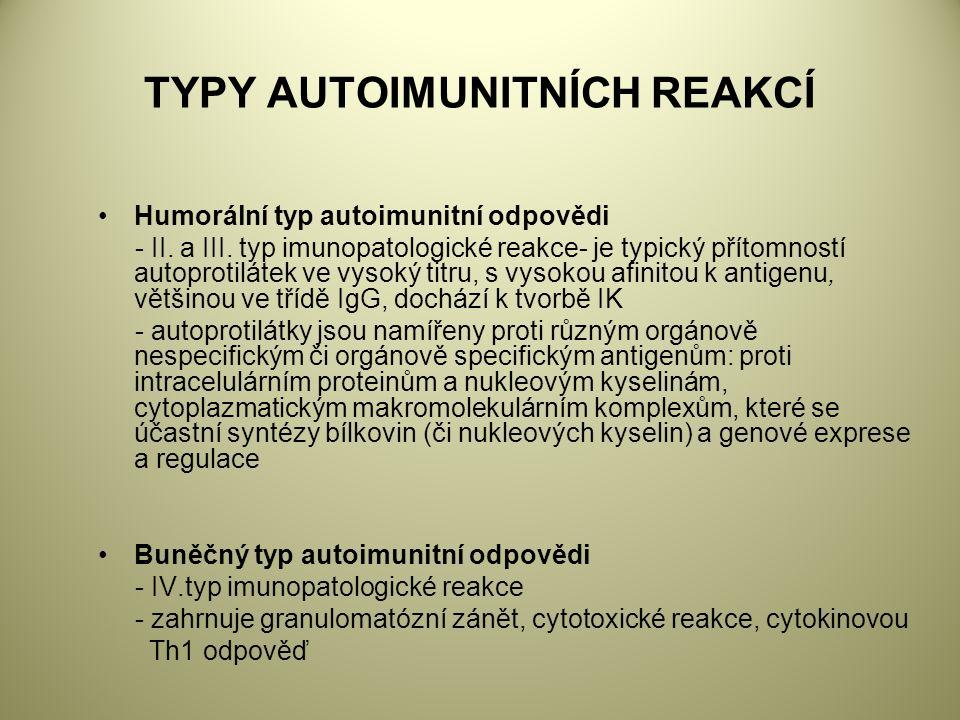 TYPY AUTOIMUNITNÍCH REAKCÍ