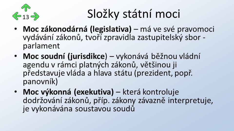 Složky státní moci 13. Moc zákonodárná (legislativa) – má ve své pravomoci vydávání zákonů, tvoří zpravidla zastupitelský sbor - parlament.