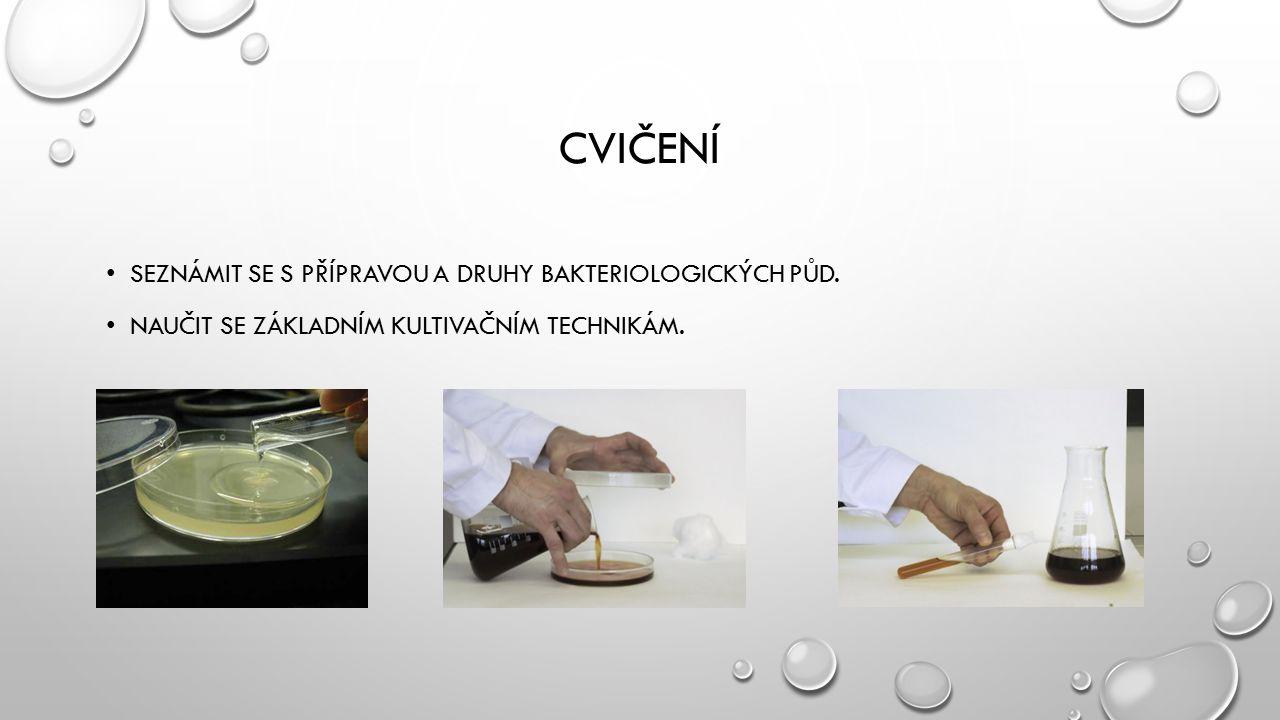 Cvičení Seznámit se s přípravou a druhy bakteriologických půd.