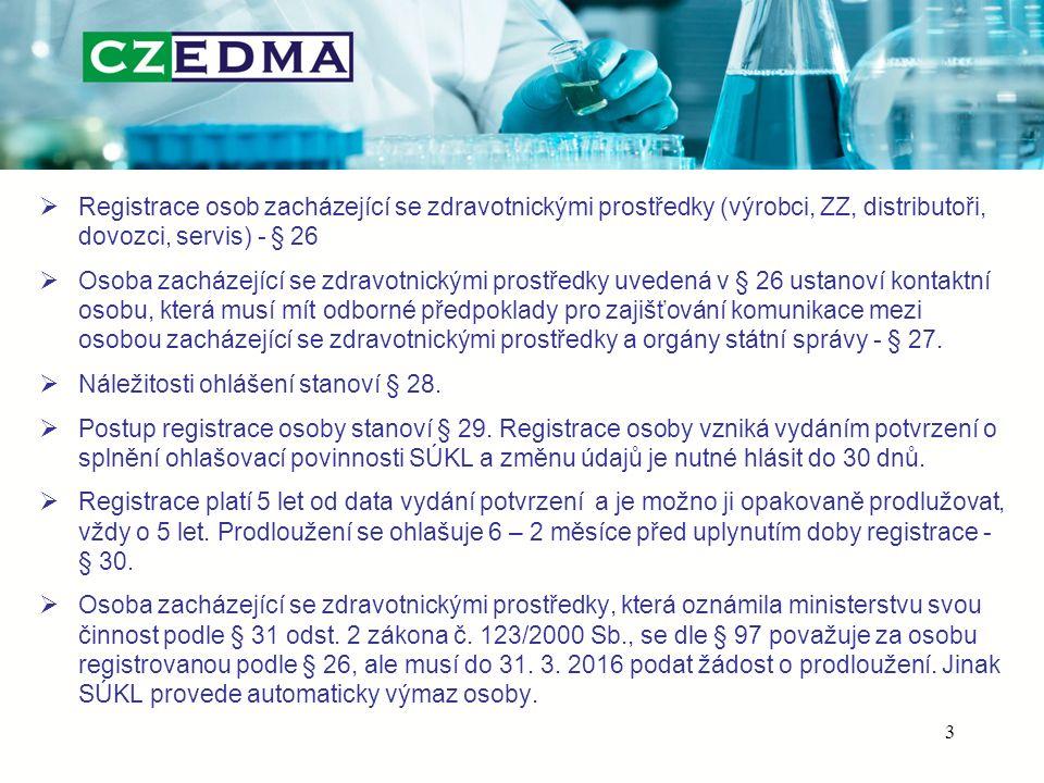 Registrace osob zacházející se zdravotnickými prostředky (výrobci, ZZ, distributoři, dovozci, servis) - § 26