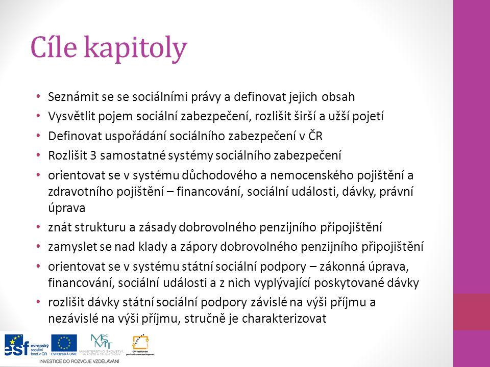 Cíle kapitoly Seznámit se se sociálními právy a definovat jejich obsah