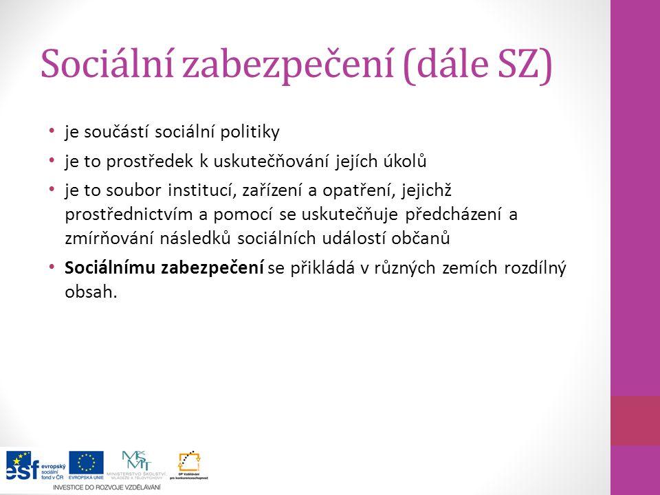 Sociální zabezpečení (dále SZ)