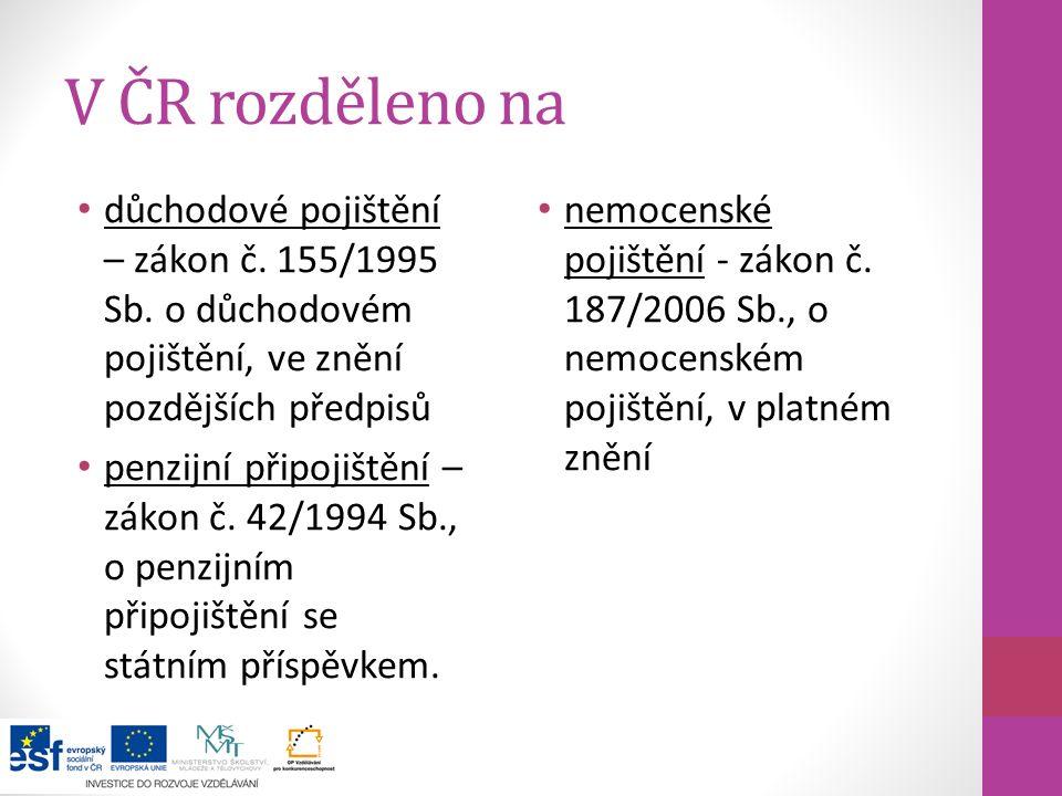 V ČR rozděleno na důchodové pojištění – zákon č. 155/1995 Sb. o důchodovém pojištění, ve znění pozdějších předpisů.