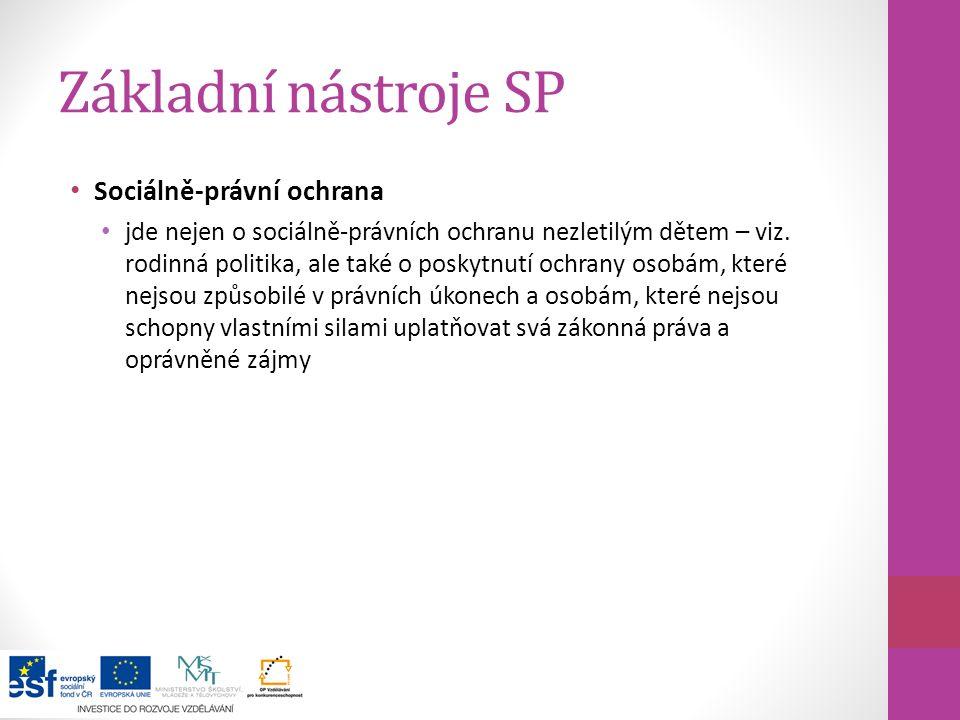 Základní nástroje SP Sociálně-právní ochrana