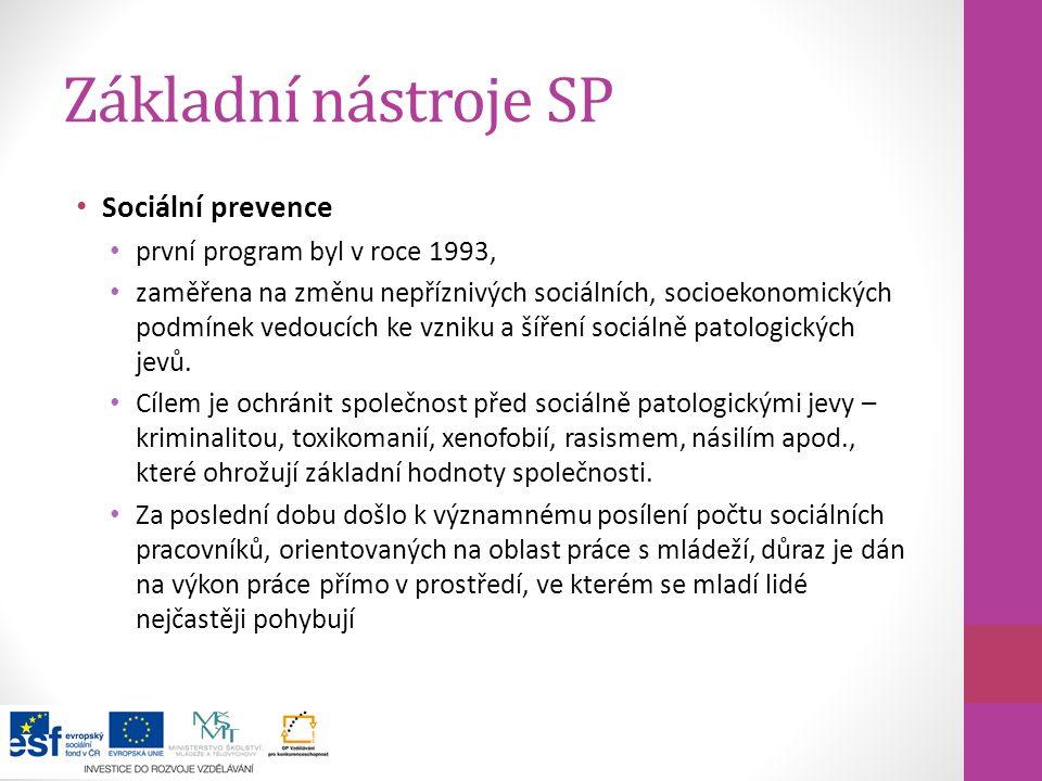 Základní nástroje SP Sociální prevence první program byl v roce 1993,