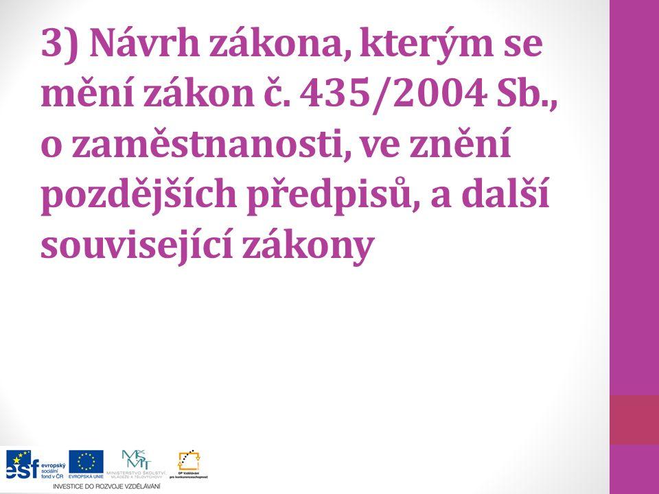 3) Návrh zákona, kterým se mění zákon č. 435/2004 Sb