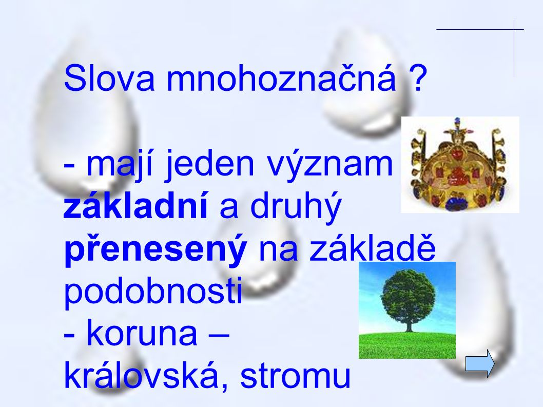 Slova mnohoznačná - mají jeden význam základní a druhý přenesený na základě podobnosti. - koruna –