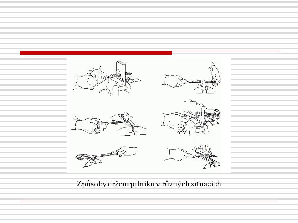 Způsoby držení pilníku v různých situacích