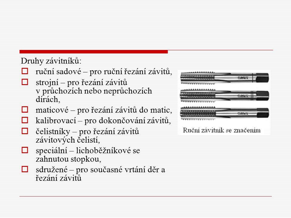 Druhy závitníků: ruční sadové – pro ruční řezání závitů, strojní – pro řezání závitů v průchozích nebo neprůchozích dírách,